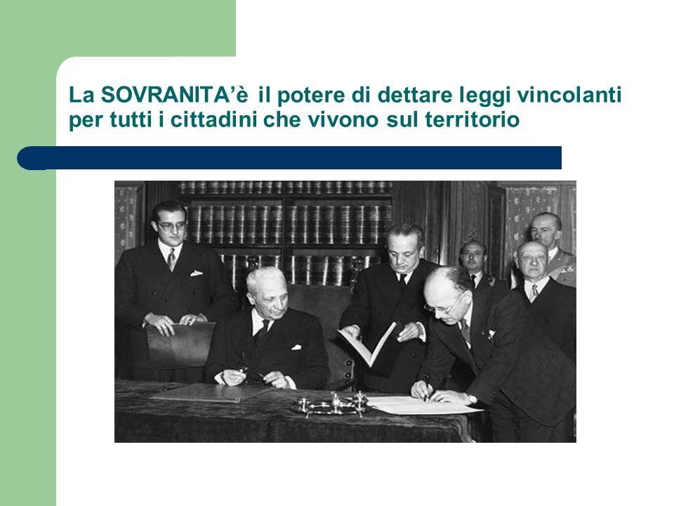 La SOVRANITA'è il potere di dettare leggi vincolanti per tutti i cittadini che vivono sul territorio