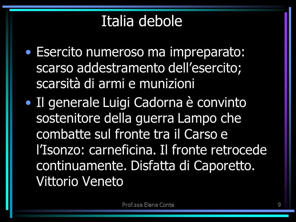 Italia debole Esercito numeroso ma impreparato: scarso addestramento dell'esercito; scarsità di armi e munizioni.
