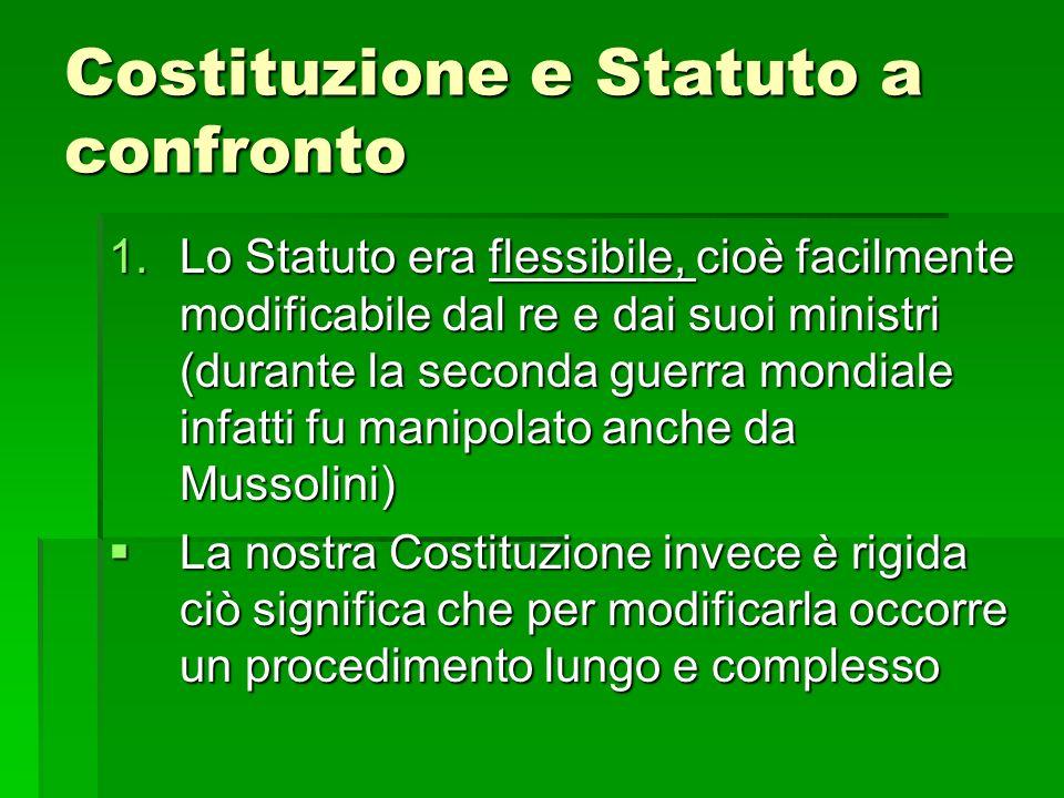 Costituzione e Statuto a confronto