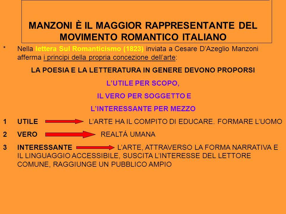 MANZONI È IL MAGGIOR RAPPRESENTANTE DEL MOVIMENTO ROMANTICO ITALIANO