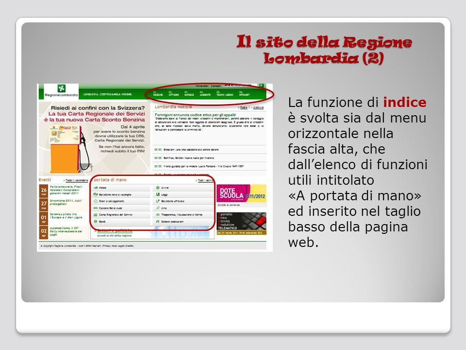 Il sito della Regione Lombardia (2)