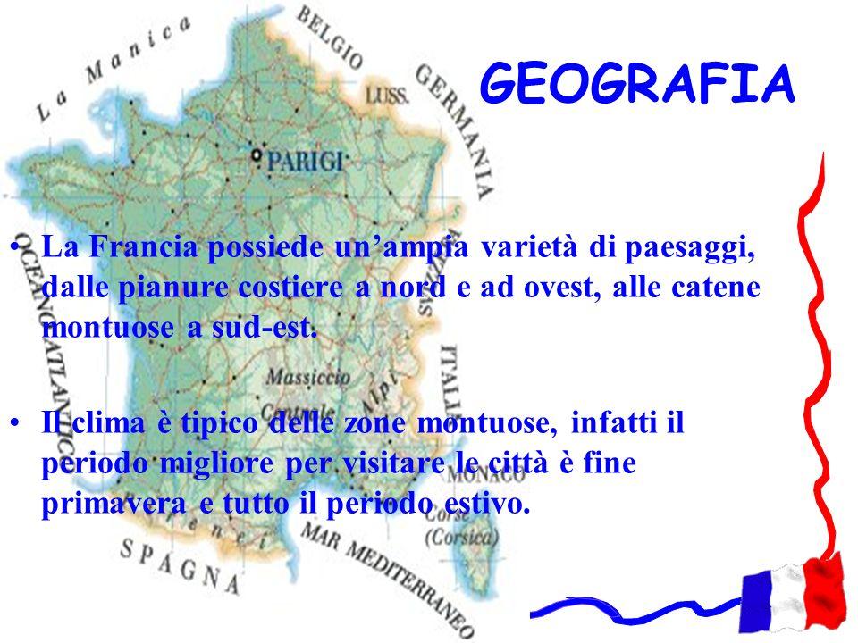 GEOGRAFIA La Francia possiede un'ampia varietà di paesaggi, dalle pianure costiere a nord e ad ovest, alle catene montuose a sud-est.