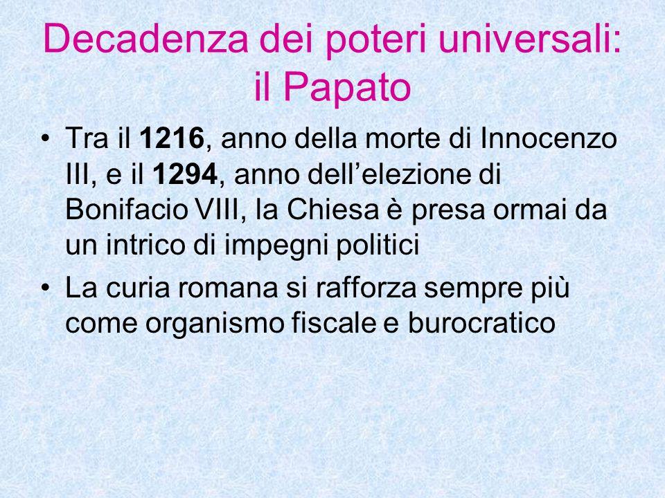 Decadenza dei poteri universali: il Papato