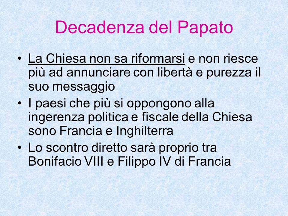 Decadenza del Papato La Chiesa non sa riformarsi e non riesce più ad annunciare con libertà e purezza il suo messaggio.