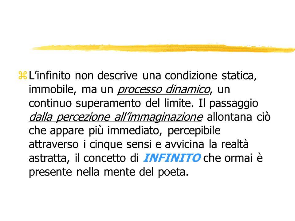 L'infinito non descrive una condizione statica, immobile, ma un processo dinamico, un continuo superamento del limite.