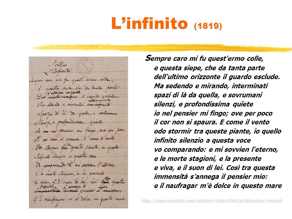 L'infinito (1819) e questa siepe, che da tanta parte