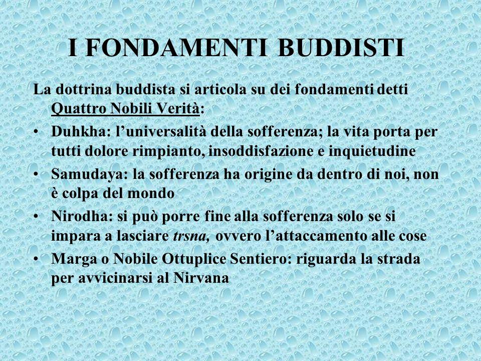 I FONDAMENTI BUDDISTI La dottrina buddista si articola su dei fondamenti detti Quattro Nobili Verità: