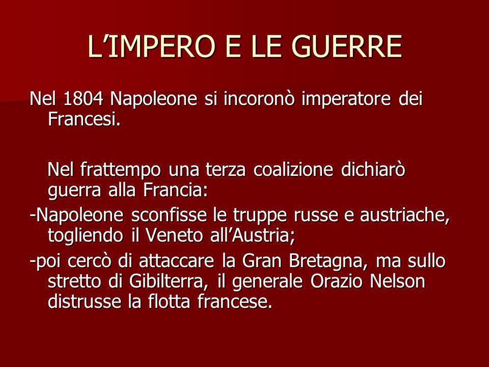 L'IMPERO E LE GUERRE Nel 1804 Napoleone si incoronò imperatore dei Francesi. Nel frattempo una terza coalizione dichiarò guerra alla Francia:
