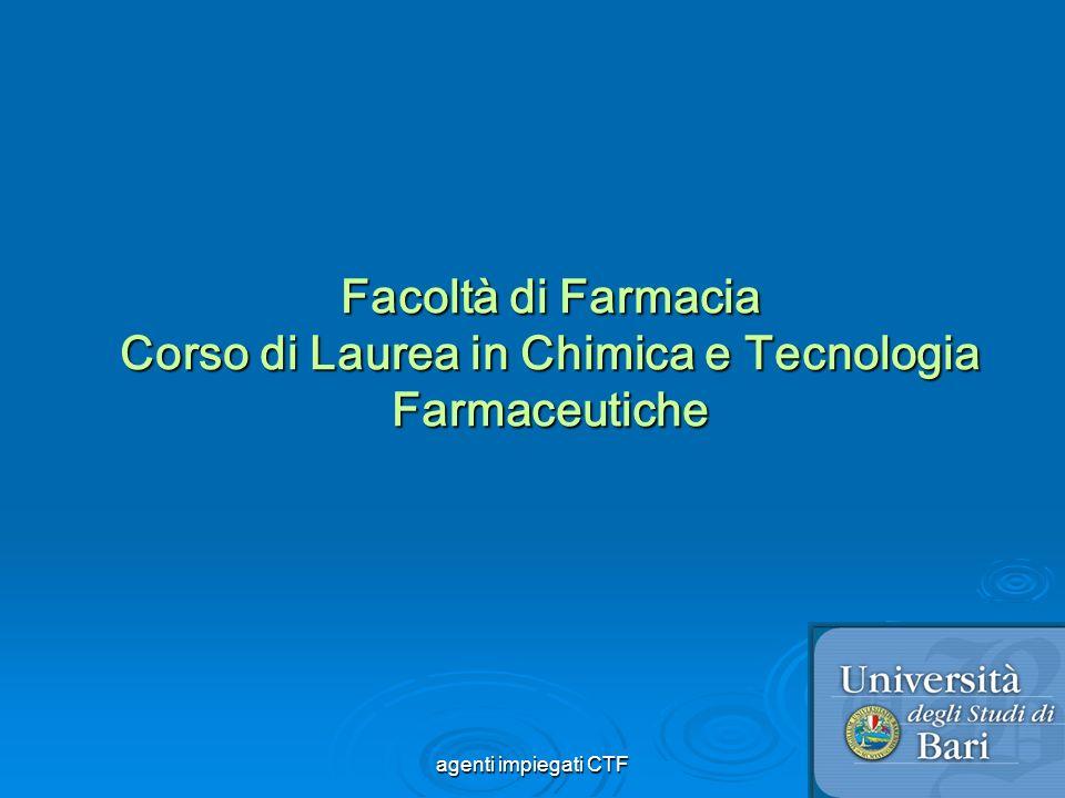 Facoltà di Farmacia Corso di Laurea in Chimica e Tecnologia Farmaceutiche