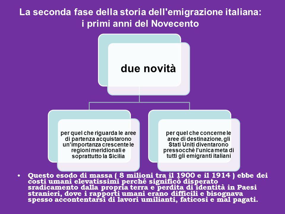 due novità La seconda fase della storia dell emigrazione italiana: