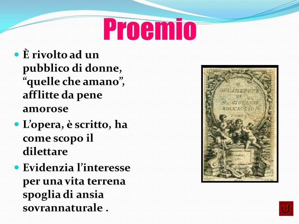 ProemioÈ rivolto ad un pubblico di donne, quelle che amano , afflitte da pene amorose. L'opera, è scritto, ha come scopo il dilettare.