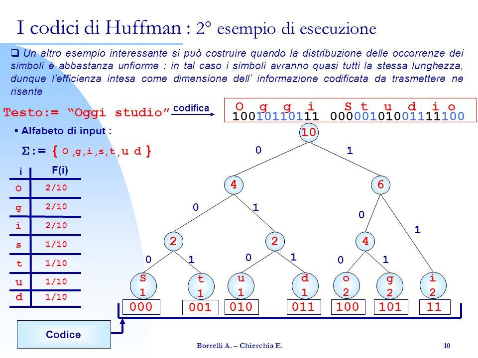 I codici di Huffman : 2° esempio di esecuzione