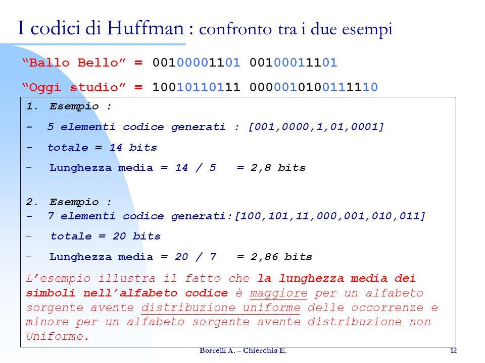 I codici di Huffman : confronto tra i due esempi