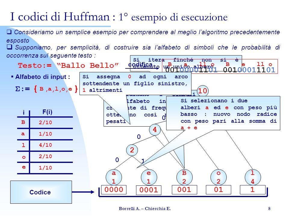 I codici di Huffman : 1° esempio di esecuzione