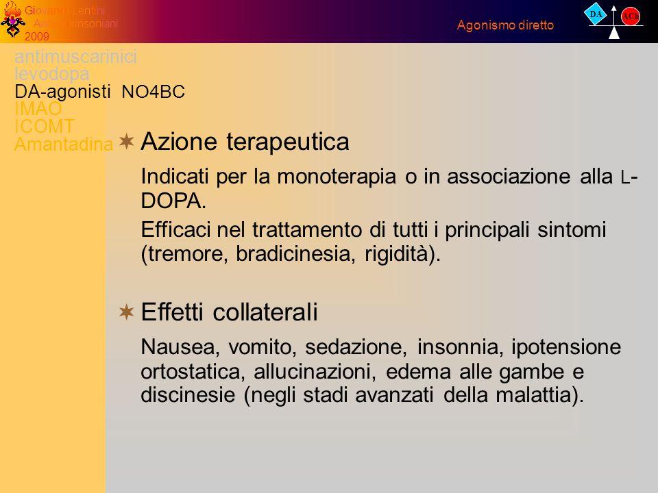antimuscarinici levodopa DA-agonisti IMAO ICOMT Amantadina