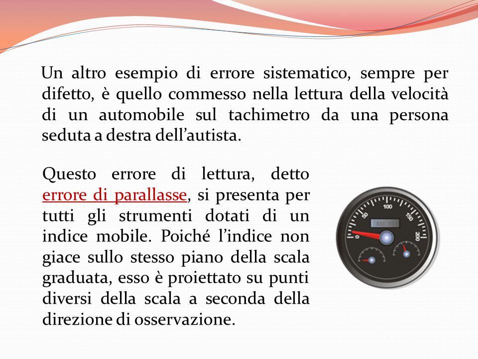 Un altro esempio di errore sistematico, sempre per difetto, è quello commesso nella lettura della velocità di un automobile sul tachimetro da una persona seduta a destra dell'autista.