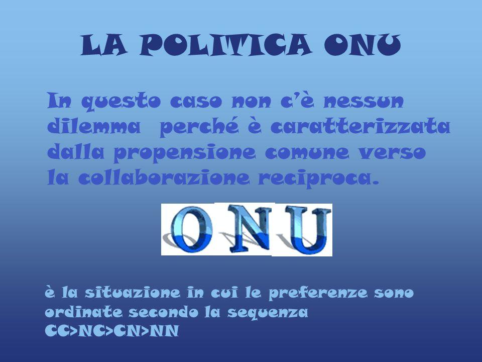 LA POLITICA ONU In questo caso non c'è nessun dilemma perché è caratterizzata dalla propensione comune verso la collaborazione reciproca.