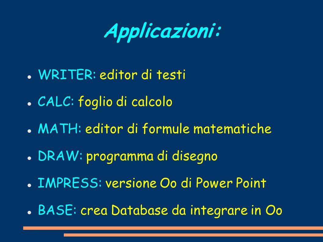 Applicazioni: WRITER: editor di testi CALC: foglio di calcolo