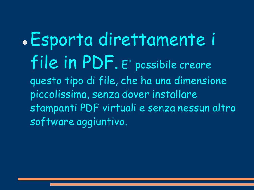 Esporta direttamente i file in PDF
