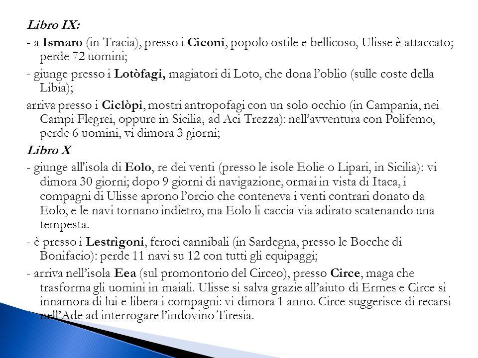 Libro IX: - a Ismaro (in Tracia), presso i Ciconi, popolo ostile e bellicoso, Ulisse è attaccato; perde 72 uomini; - giunge presso i Lotòfagi, magiatori di Loto, che dona l'oblio (sulle coste della Libia); arriva presso i Ciclòpi, mostri antropofagi con un solo occhio (in Campania, nei Campi Flegrei, oppure in Sicilia, ad Aci Trezza): nell'avventura con Polifemo, perde 6 uomini, vi dimora 3 giorni; Libro X - giunge all isola di Eolo, re dei venti (presso le isole Eolie o Lipari, in Sicilia): vi dimora 30 giorni; dopo 9 giorni di navigazione, ormai in vista di Itaca, i compagni di Ulisse aprono l'orcio che conteneva i venti contrari donato da Eolo, e le navi tornano indietro, ma Eolo li caccia via adirato scatenando una tempesta.