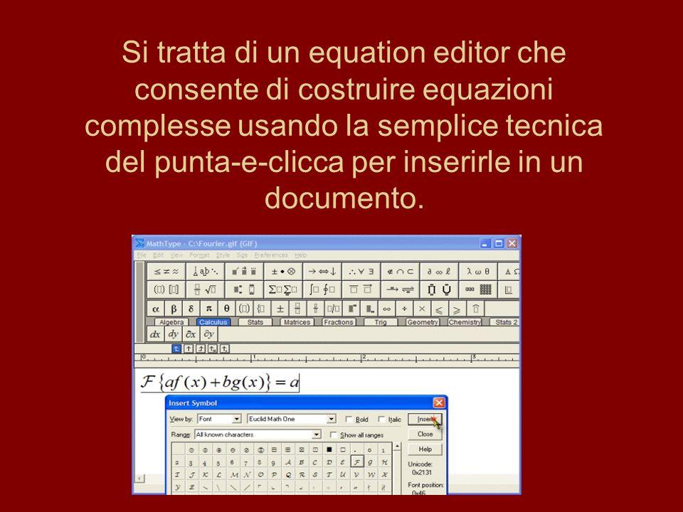 Si tratta di un equation editor che consente di costruire equazioni complesse usando la semplice tecnica del punta-e-clicca per inserirle in un documento.