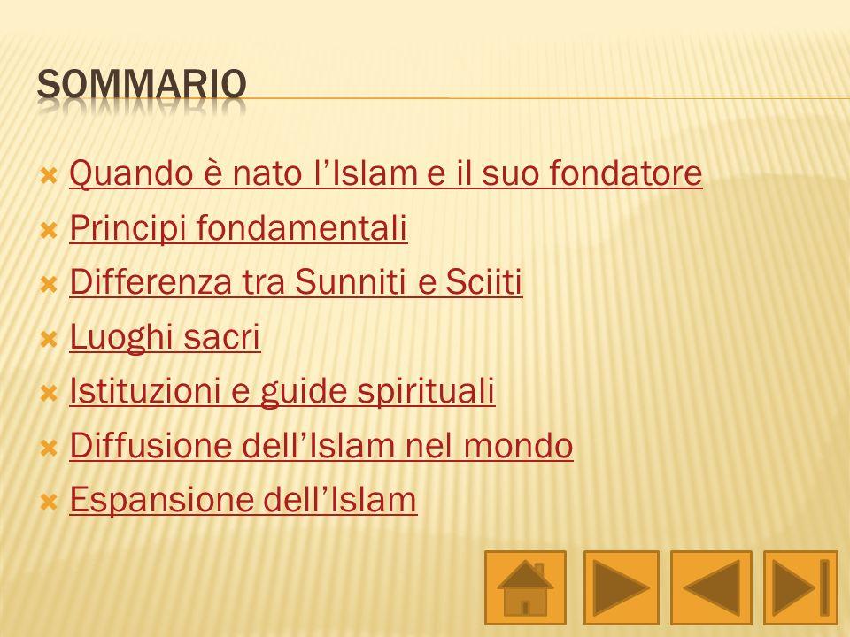 Sommario Quando è nato l'Islam e il suo fondatore