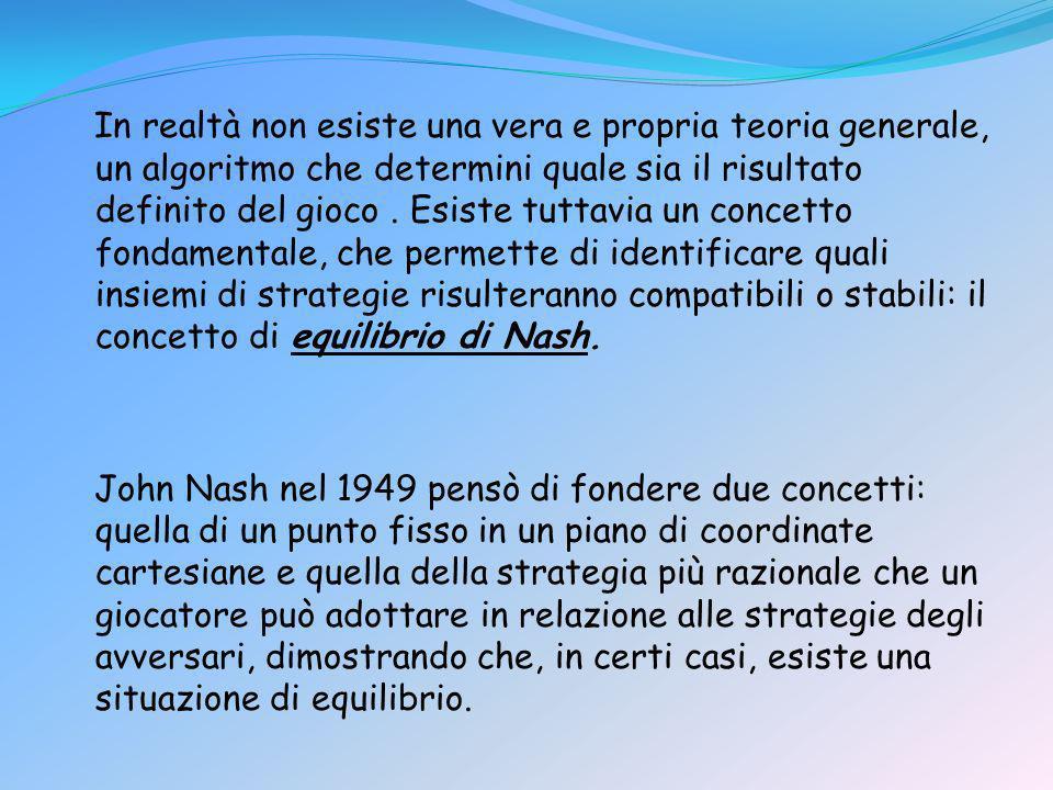 In realtà non esiste una vera e propria teoria generale, un algoritmo che determini quale sia il risultato definito del gioco . Esiste tuttavia un concetto fondamentale, che permette di identificare quali insiemi di strategie risulteranno compatibili o stabili: il concetto di equilibrio di Nash.