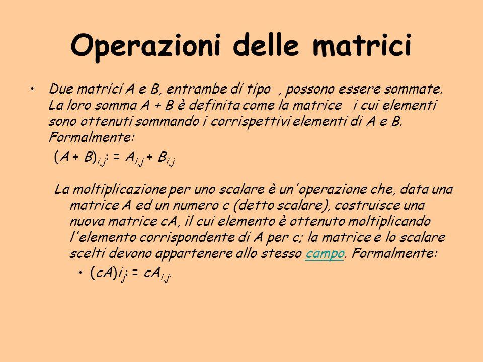 Operazioni delle matrici