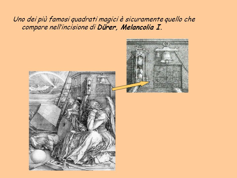 Uno dei più famosi quadrati magici è sicuramente quello che compare nell'incisione di Dürer, Melancolia I.