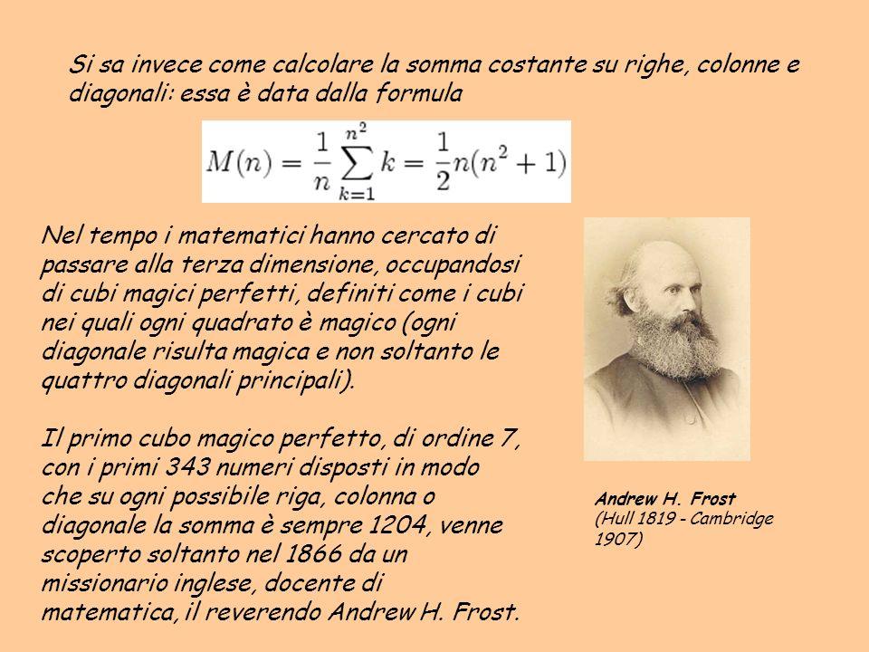 Si sa invece come calcolare la somma costante su righe, colonne e diagonali: essa è data dalla formula