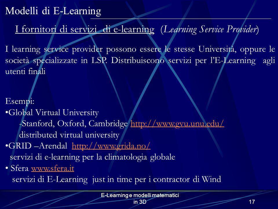I fornitori di servizi di e-learning (Learning Service Provider)