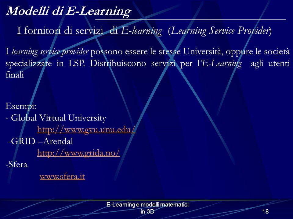Modelli di E-Learning I fornitori di servizi di E-learning (Learning Service Provider)