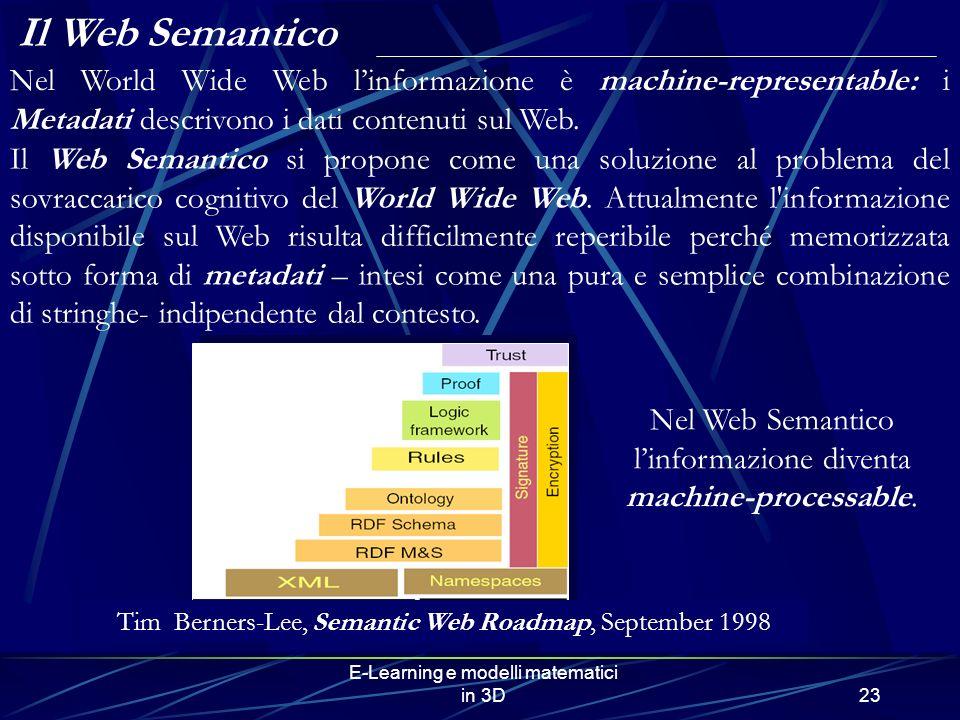Il Web Semantico Nel World Wide Web l'informazione è machine-representable: i Metadati descrivono i dati contenuti sul Web.