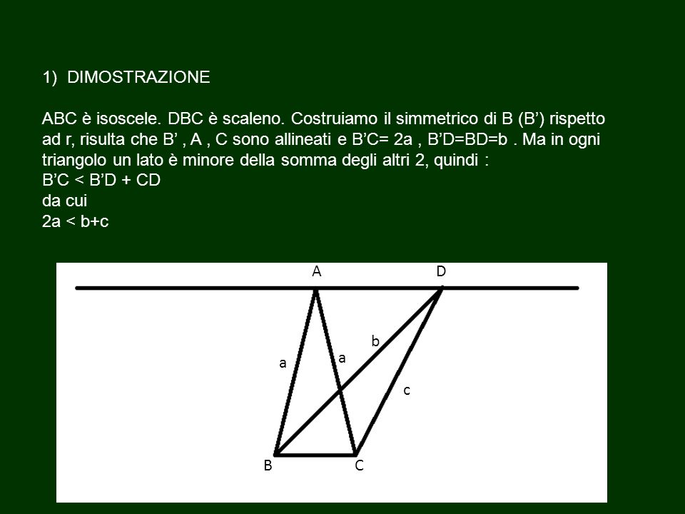 1) DIMOSTRAZIONE ABC è isoscele. DBC è scaleno
