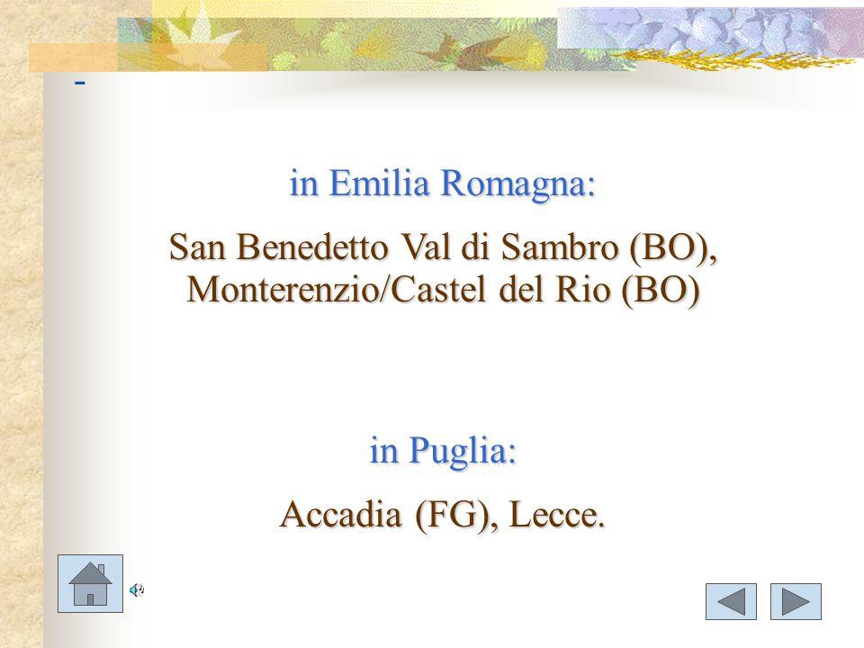 San Benedetto Val di Sambro (BO), Monterenzio/Castel del Rio (BO)