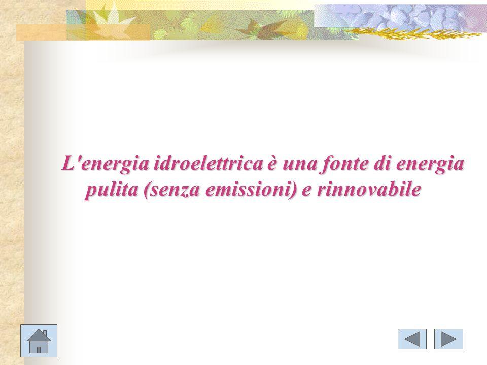 L energia idroelettrica è una fonte di energia pulita (senza emissioni) e rinnovabile