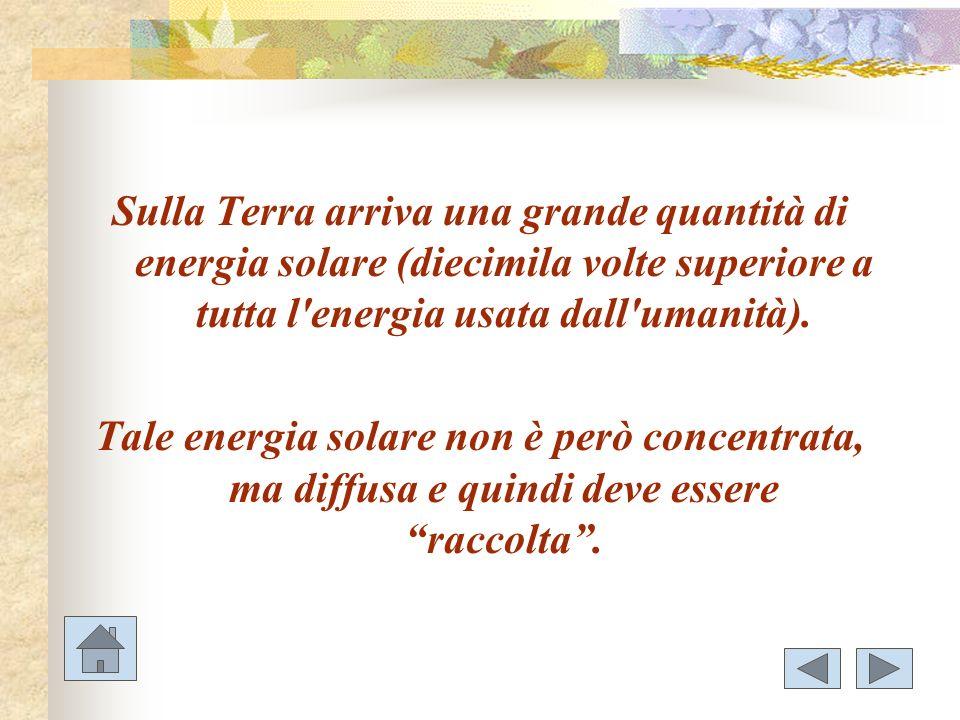 Sulla Terra arriva una grande quantità di energia solare (diecimila volte superiore a tutta l energia usata dall umanità).