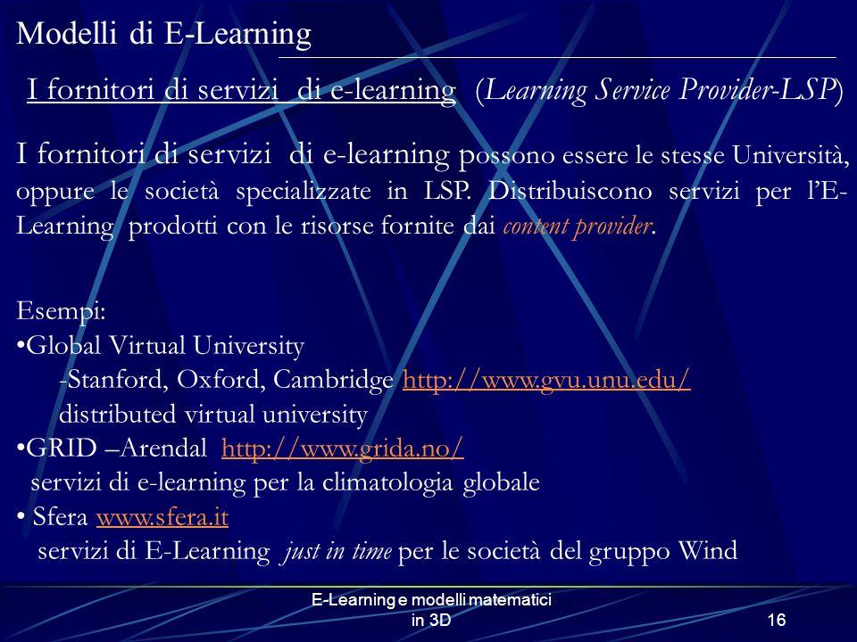 I fornitori di servizi di e-learning (Learning Service Provider-LSP)