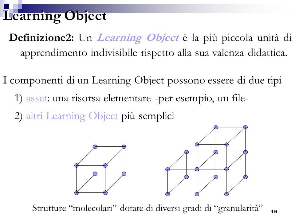 Learning Object Definizione2: Un Learning Object è la più piccola unità di apprendimento indivisibile rispetto alla sua valenza didattica.