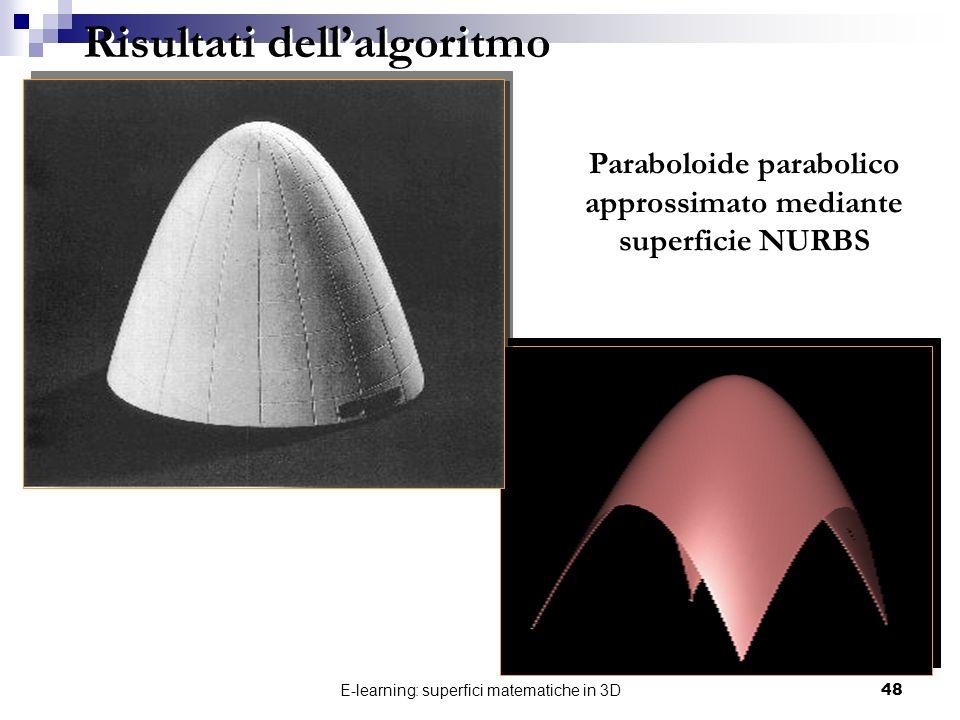 Paraboloide parabolico approssimato mediante superficie NURBS