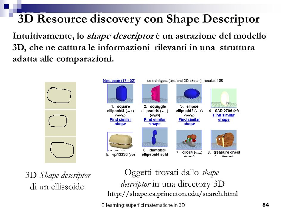 3D Resource discovery con Shape Descriptor