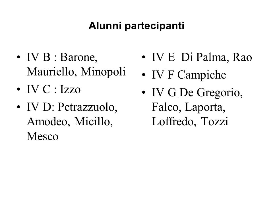 IV B : Barone, Mauriello, Minopoli IV C : Izzo