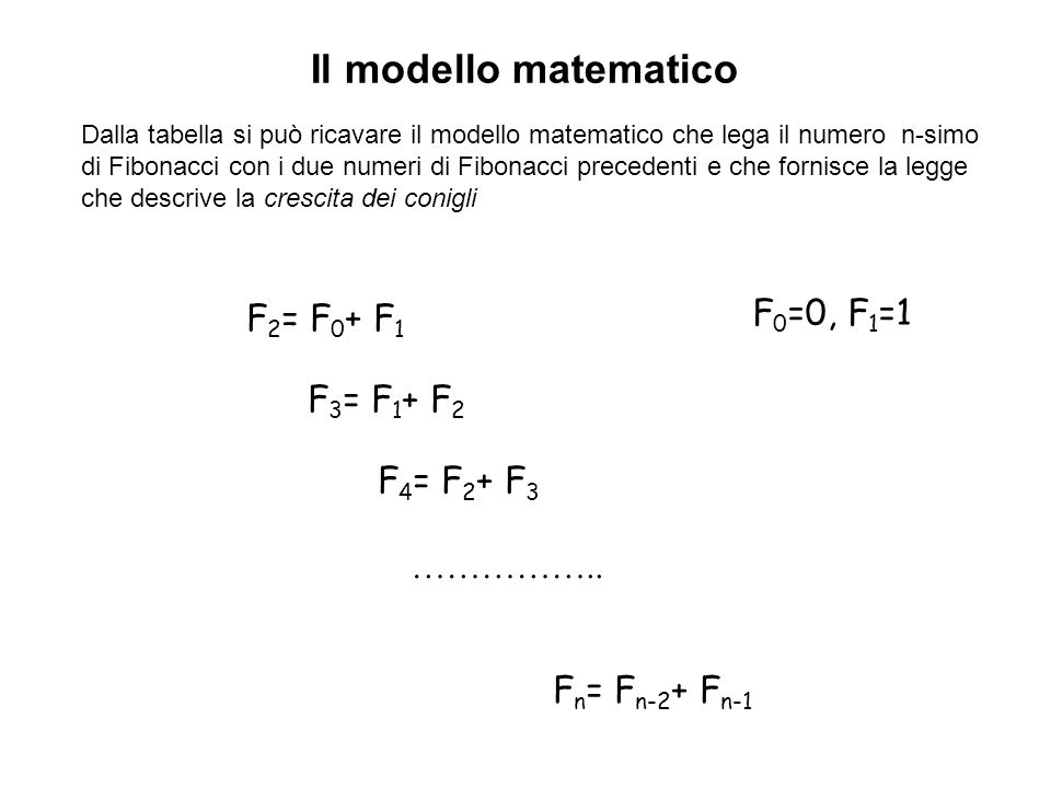 Il modello matematico F0=0, F1=1 F2= F0+ F1 F3= F1+ F2 F4= F2+ F3