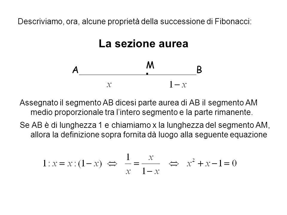 Descriviamo, ora, alcune proprietà della successione di Fibonacci: