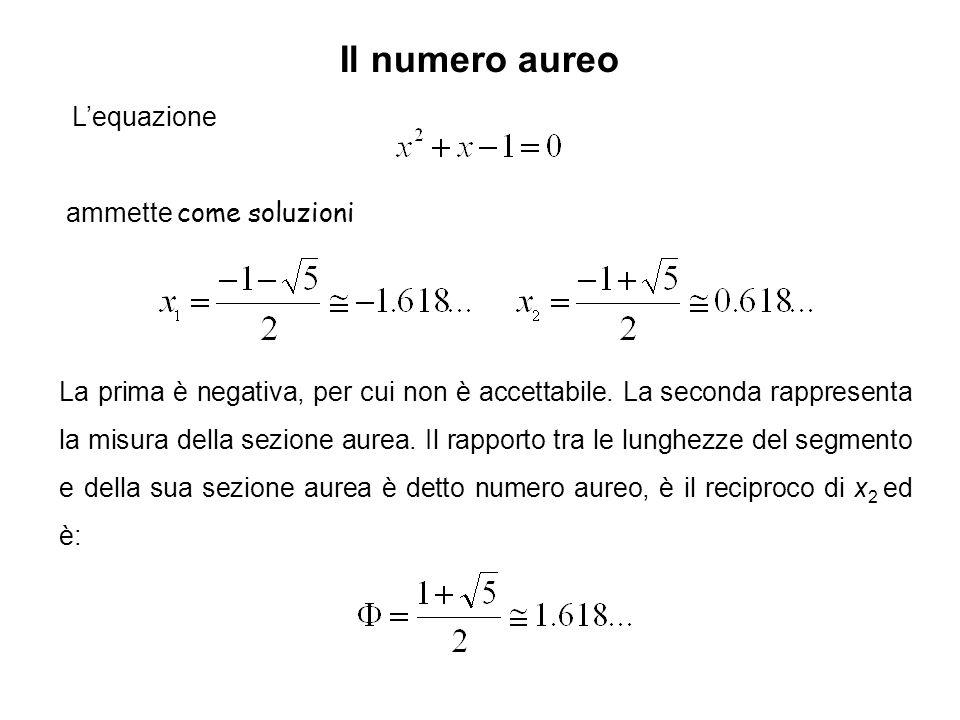 Il numero aureo L'equazione ammette come soluzioni