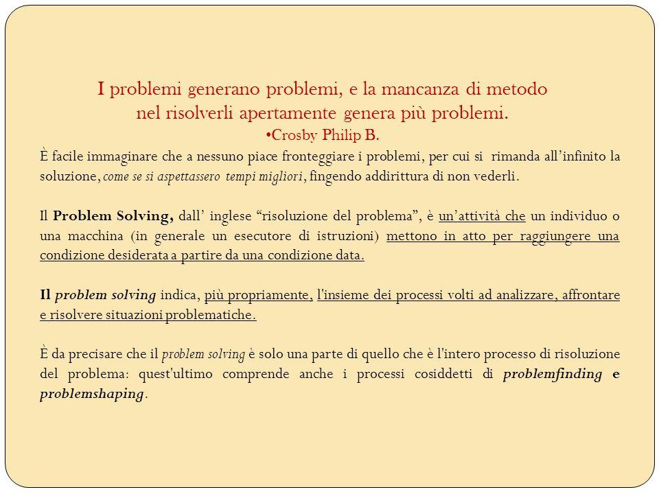 I problemi generano problemi, e la mancanza di metodo nel risolverli apertamente genera più problemi.