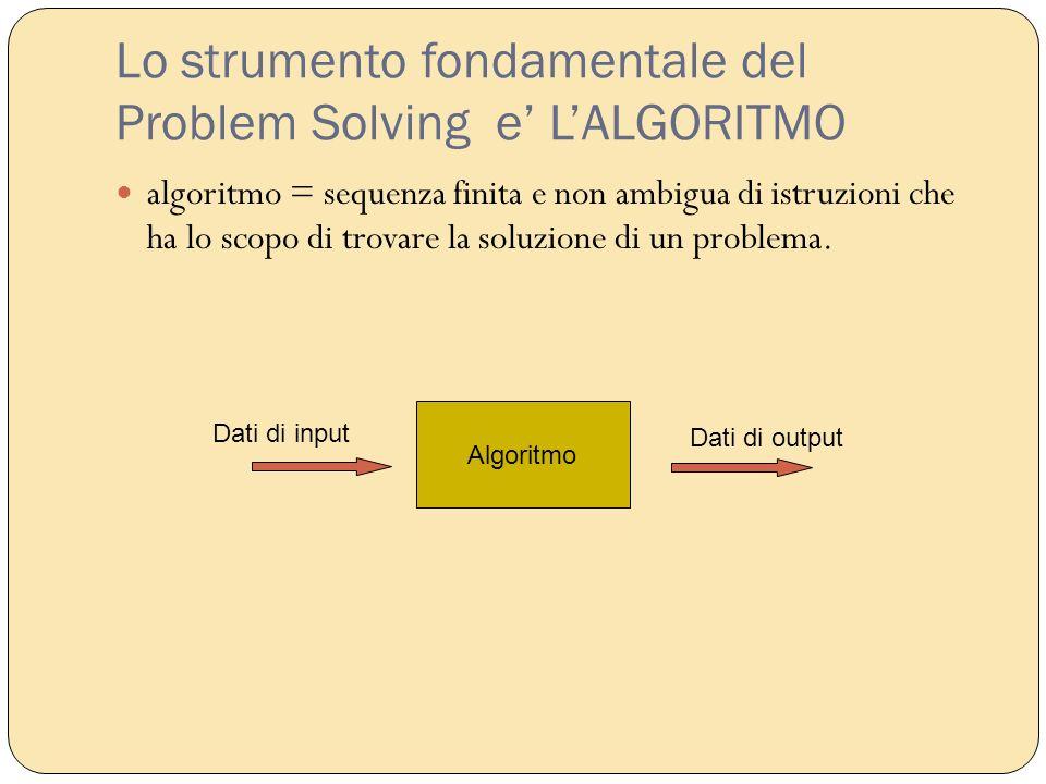 Lo strumento fondamentale del Problem Solving e' L'ALGORITMO