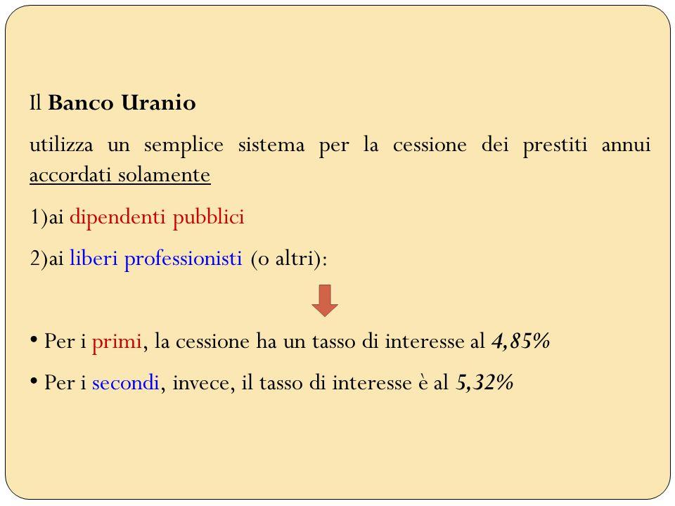 Il Banco Uranioutilizza un semplice sistema per la cessione dei prestiti annui accordati solamente.