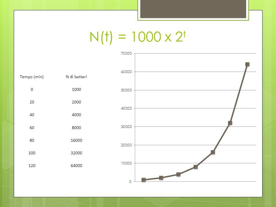 N(t) = 1000 x 2t Tempo (min) N di batteri 1000 20 2000 40 4000 60 8000