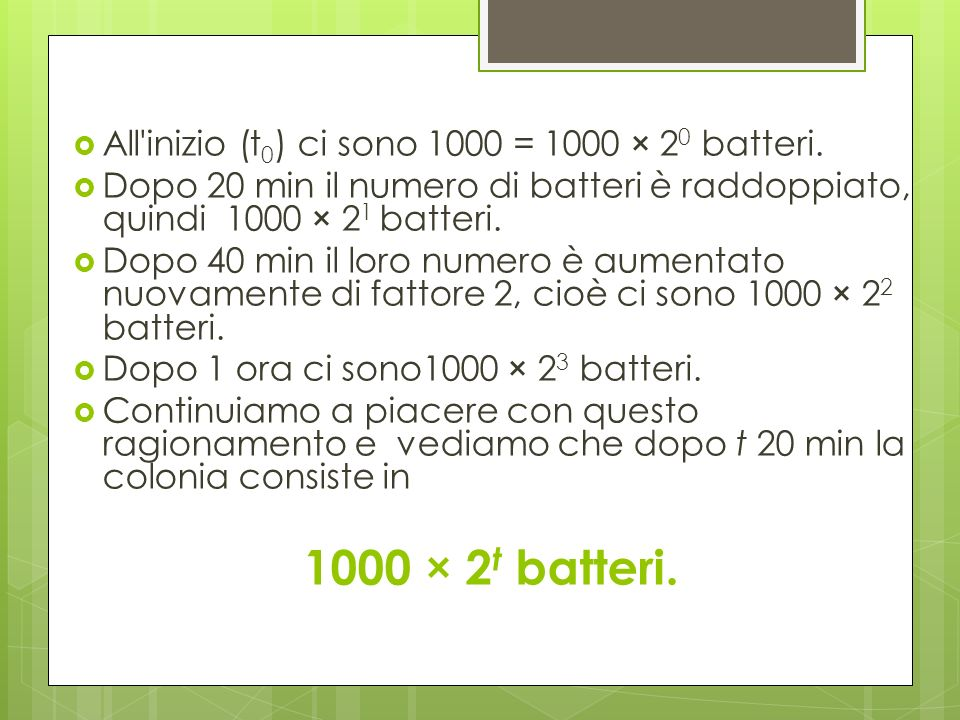 1000 × 2t batteri. All inizio (t0) ci sono 1000 = 1000 × 20 batteri.